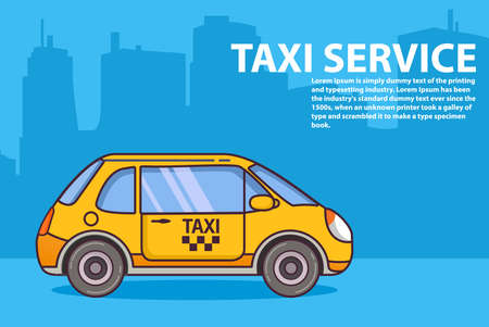 Yellow taxi service. Vehicle urban city buildings of a tower skyscraper. 向量圖像