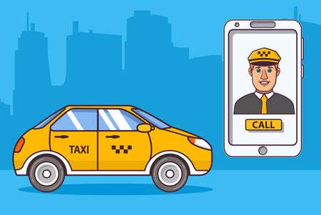 Taxi driver car.Application smartphone. Yellow cab taxi. Vehicle city urban. 版權商用圖片 - 157078882