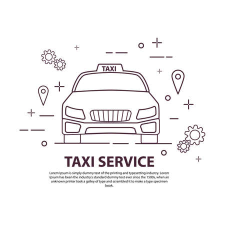 Taxi service icon. Car front view. Line art flat vector. 向量圖像