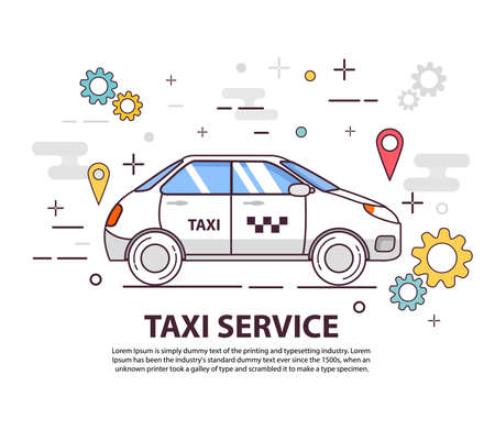 Taxi service. Concept of design of a banner. Car side view. Flat line art vector.