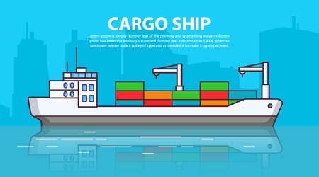 Cargo ship. Freighter shipping. Delivery of goods. Flat line art vector. 向量圖像