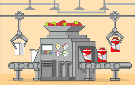 Conveyer belt factory of a box fruit drink.