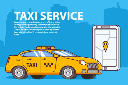 Taxi service order yellow car.Mobile app map smartphone. 版權商用圖片 - 157051941