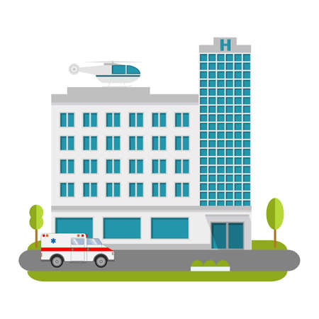 City Hospital and Clinic building with ambulance flat style and the car and the helicopter of medical care.