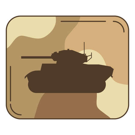 The English military tank of World War II the average military in desert a camouflage vector in flat.