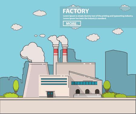 Industrial factory flat Line art vector an illustration.Plant or Factory Building road tree window facade. Illusztráció