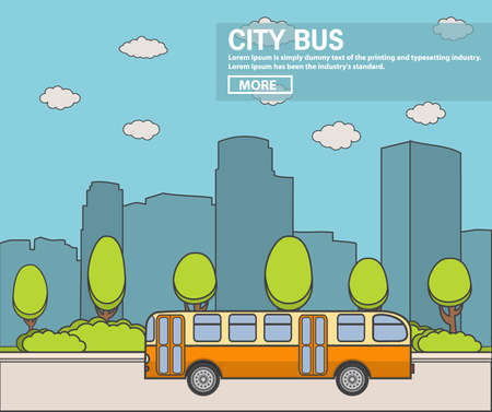 The city bus passenger a retro the old bus in flat style a vector. A landscape with silhouettes of skyscrapers.