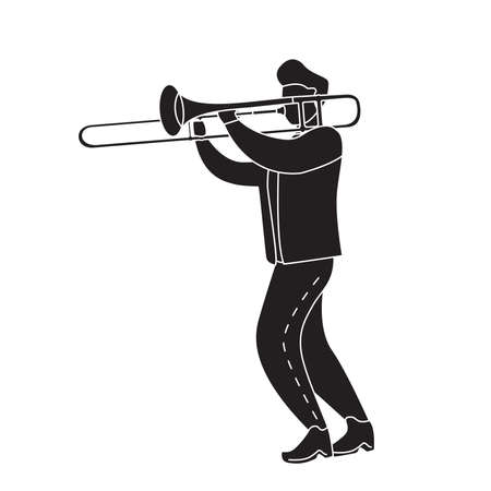 Black silhouette man playing the trombone. Modern flat vector illustration.