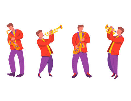 Jazz quartet musicians with saxophone, trumpet.Modern flat vector illustration notes.