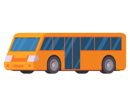 Yellow city bus. Vector illustration flat style. Public transport. Ilustración de vector