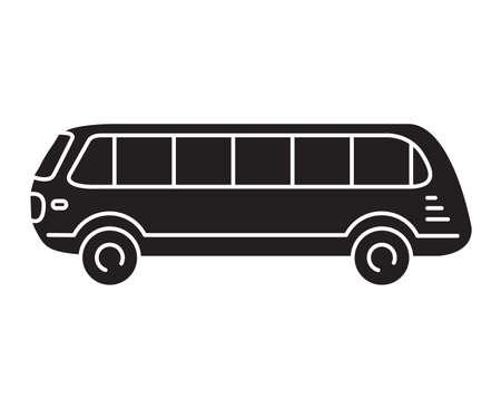 Black silhouette. Retro passenger bus .Vector illustration flat style.