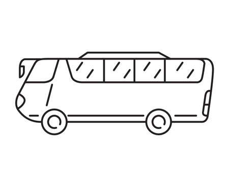 Bus outline icon. Passenger transport.Vector flat illustration. 向量圖像