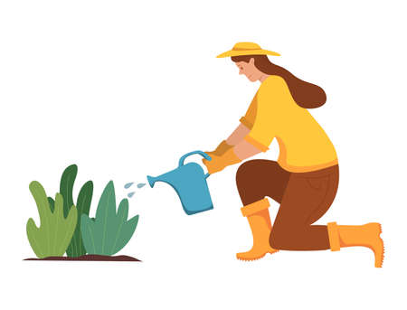Woman waters plants from a watering can. Agriculture gardener hobby.