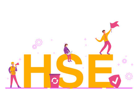 HSE - health safety environmen big letters.Concept icon isolated on white background.The guy is waving the flag. Vettoriali