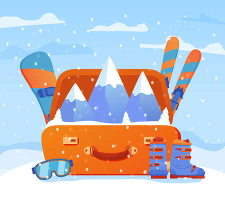Ski resort. Open suitcase with ski equipment. Skis and poles, snowboards, boots, and safety glasses.