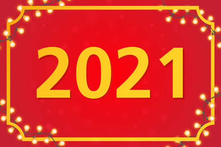 The new year 2021 garlands decoration frame. Website banner concept.