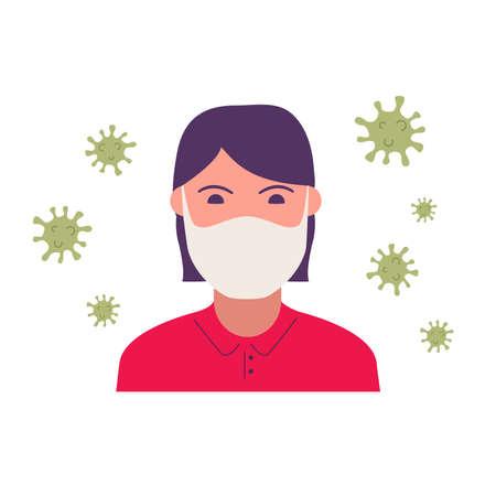Girl in medical face mask coronavirus quarantine.