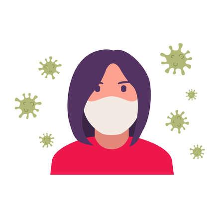 Girl in medical face mask coronavirus .