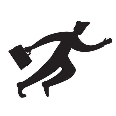 Black silhouette businessman running .Flat Illustration vector. Ilustración de vector