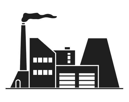 Industrial silhouette factory building. Vector flat. Building facade.