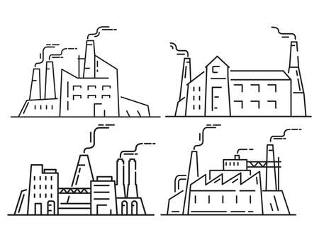 Factory industrial architecture. Outline plant vector icon.