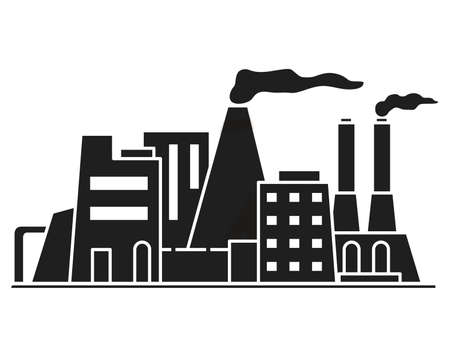 Industrial silhouette factory building. Vector flat. Dirty industrial trash.