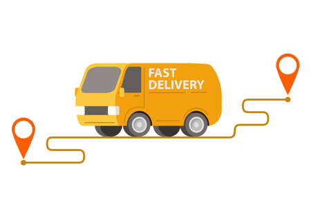 Delivery yellow van carrying parcels on points.Vector illustration.