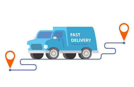 Delivery truck carrying parcels on points.Vector illustration. 向量圖像