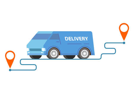 Delivery van point to point.Vector car illustration.