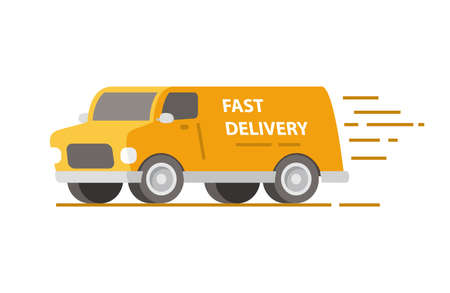 Service fast delivery van.Cargo truck transportation.Vector illustration. 向量圖像