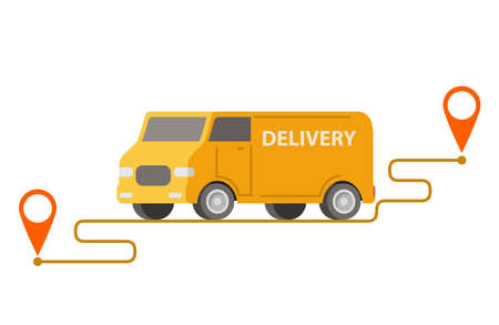 Delivery truck point to point.Vector car illustration. 向量圖像