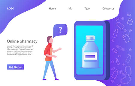 A young man chooses medicine online ordering. Web page. Website template.