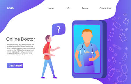 The young man ask a route in the smartphone.Web page.Website template. Flat vector.Doctor online concept character.