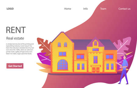 Houses For Rent.Landing page interface design template.