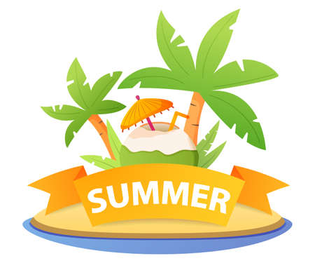 Beach cocktail coco.Pina colada in coconut with a straw, umbrella. 向量圖像