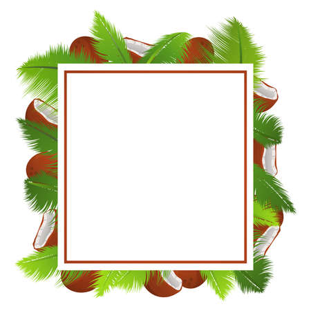 Tropical template banner with palm leaves and coconuts a frame.