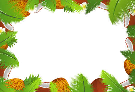 Tropical template of a frame for a banner with palm leaves pineapple and coconuts.