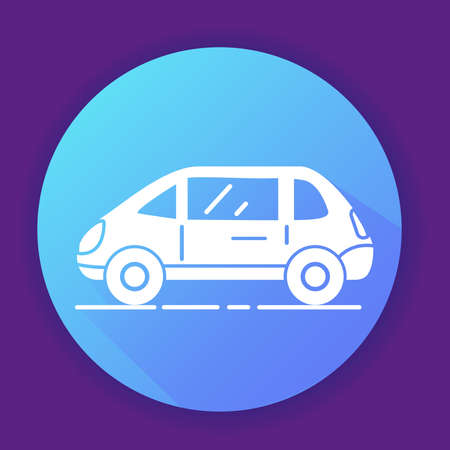 Car icon . Flat illustration.Isolated on a blue background.