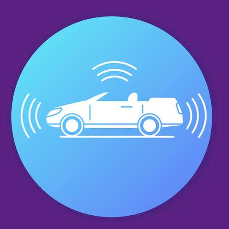 Autonomous driving smart car icon. Gps signal around.Flat illustration. 向量圖像