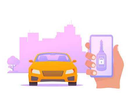 Smart car key security .The smartphone controls wireless auto.