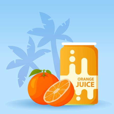Aluminum can with orange juice. Ripe tropical fruit.
