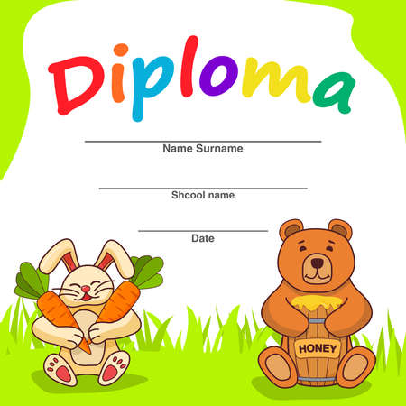 Diploma template for kids.The cartoon a bunny with carrots and a bear with a barrel of honey. 向量圖像