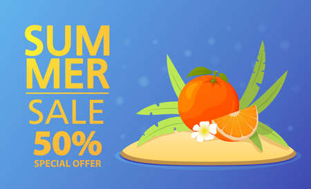 Summer sale banner.Offers a 50 discount.Tropical island with palm trees and orange tropical fruit.
