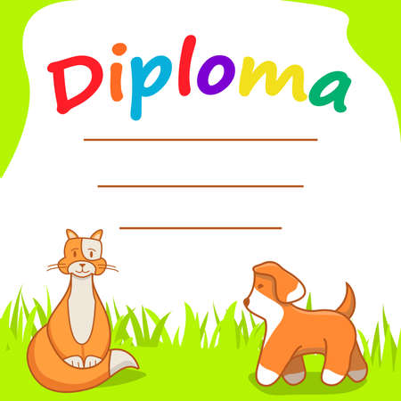 Diploma template for kids.Cartoon character cat and dog.