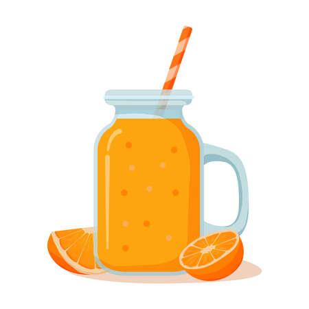 Jar with fresh orange juice.Natural tropical citrus fruit .