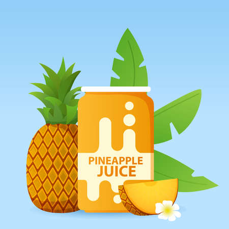 Aluminum can with pineapple juice. Ripe tropical fruit.
