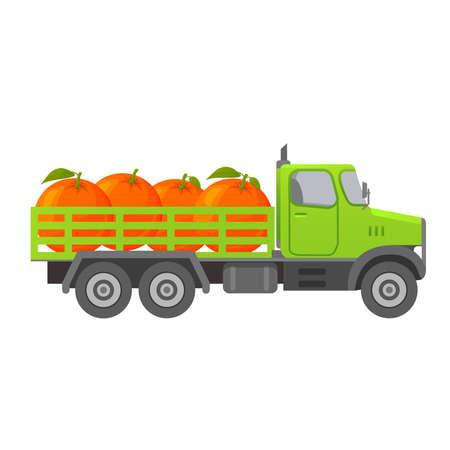 Food delivery truck orange. Harvesting Tropical Citrus Fruits. 向量圖像