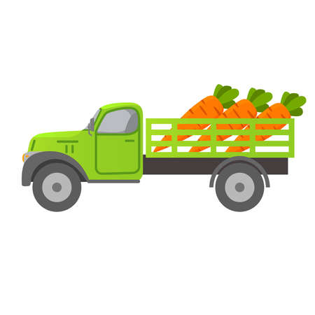 Food delivery retro truck vegetables. Carrot harvesting .Car illustration vector. 向量圖像