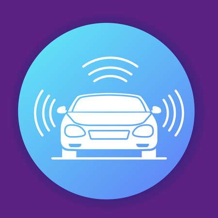 Autonomous driving smart car icon. Gps signal around.