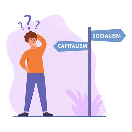 A person chooses the path of socialism or capitalism.Traffic sign .